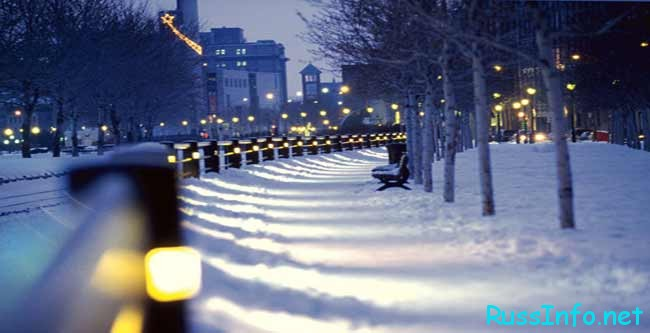 Зимняя погода ночью