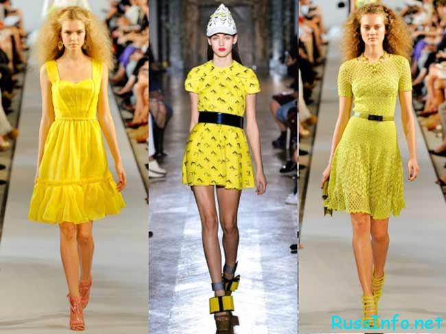 модные платья желтого цвета