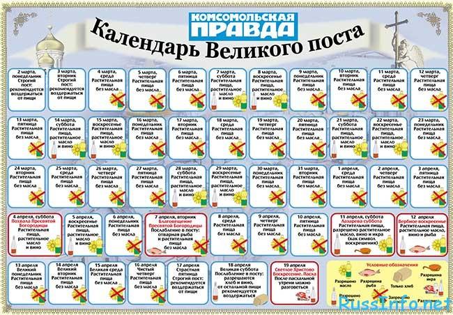 распечатать календарь питания на Великий пост 2018 распечатать