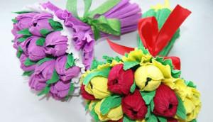 подарки из конфет на 8 марта, мастер класс