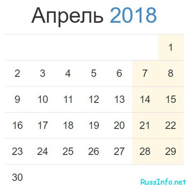 апрель 2018 года