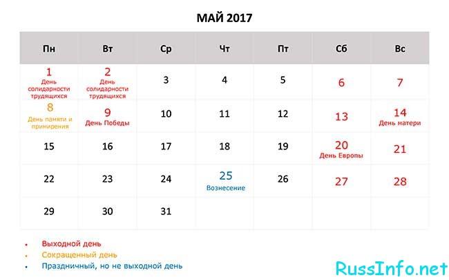 майские праздники 2017 нерабочие дни