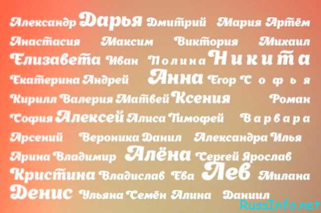 русские популярные имена для мальчиков 2019