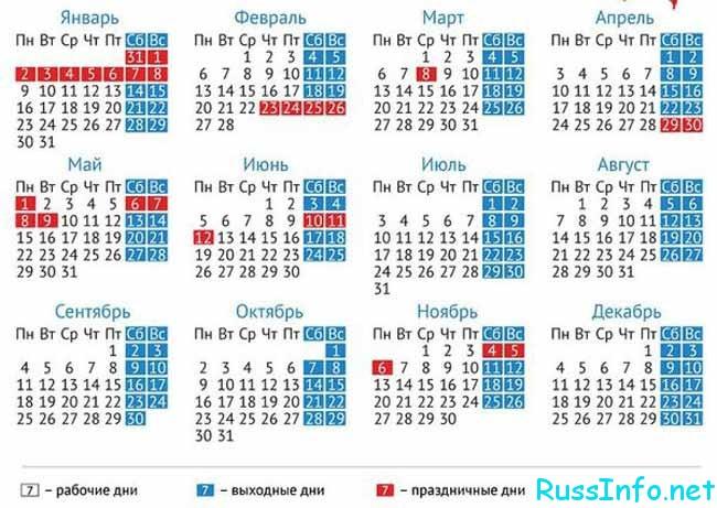 праздничные нерабочие дни в 2017 году в России