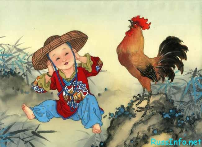 китайский мальчик и петух