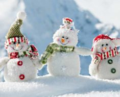 семья снеговичков