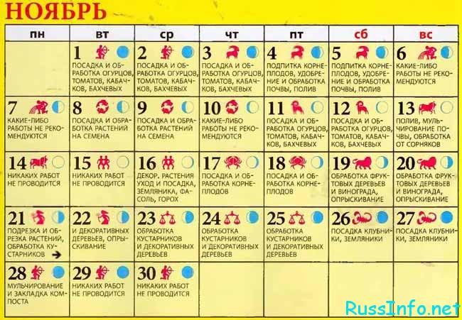 лунный календарь для сада