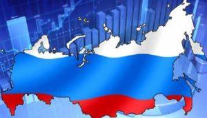 карта и флаг России
