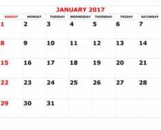 календарь на январь 2017 года