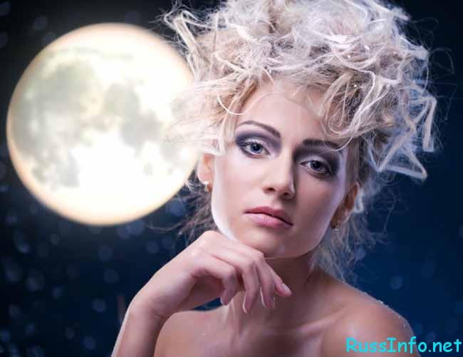 необычные локоны и луна