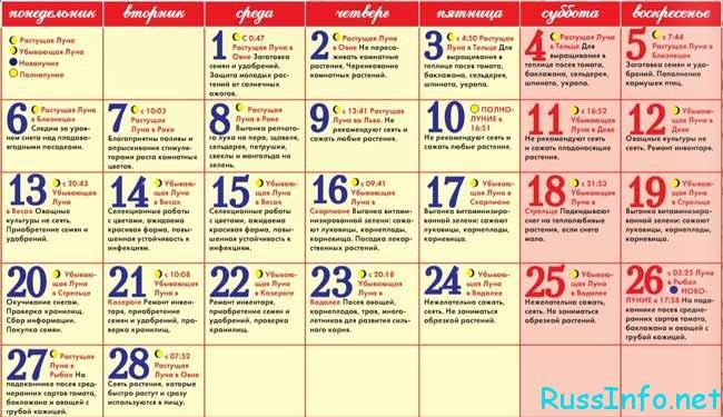 лунный посевной календарь на февраль 2019 года