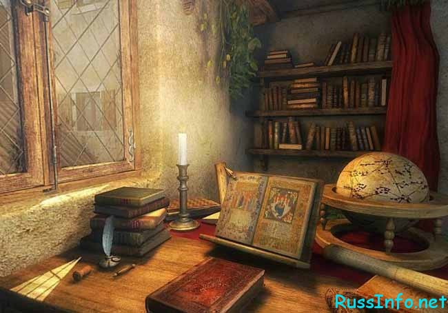 старинная комната с книгами