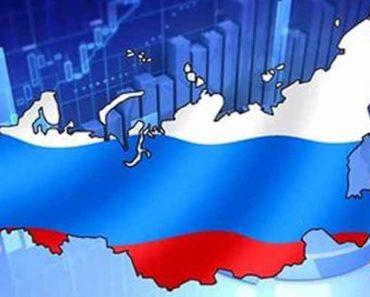 Российский флаг и диаграммы