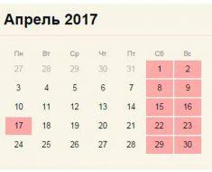 календарь на апрель