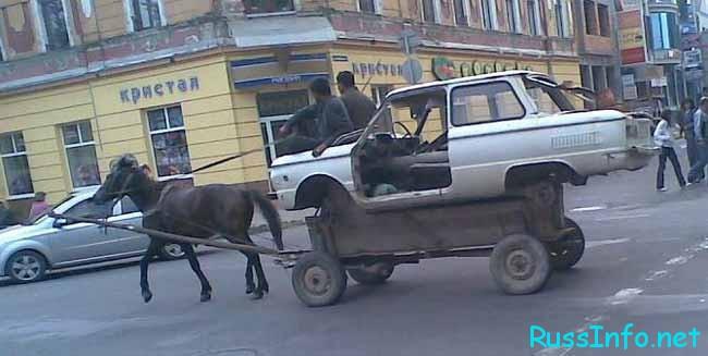 лошадь везет машину