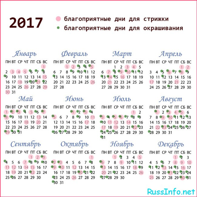 Окраска волос по лунному календарю 2017