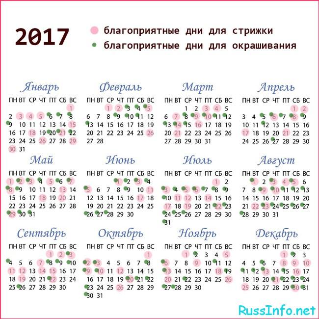 календарь стрижки на 2017 год