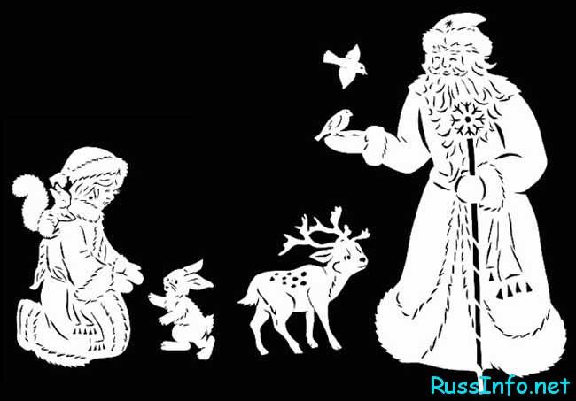 Шаблоны вытынанки снегурочки