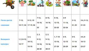 Таблица посевного календаря на 2019 год для Башкирии