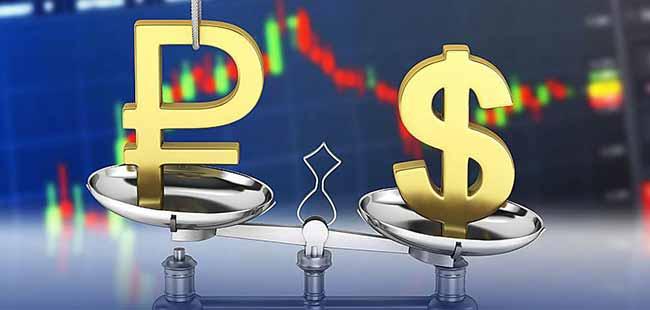 Рубль и доллар на чаше весов.