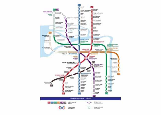 Схема станций Питерского метрополитена
