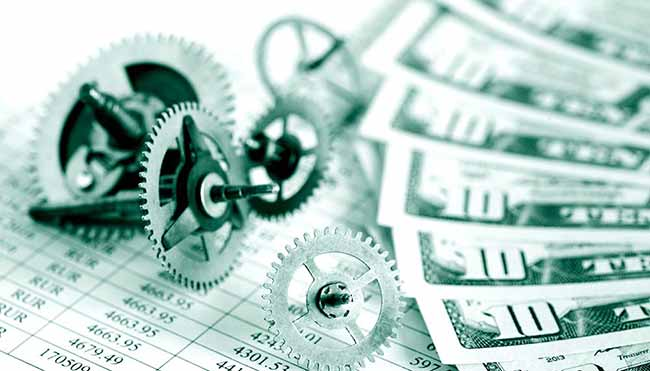 Картинка коллаж доллары, части механизма часов