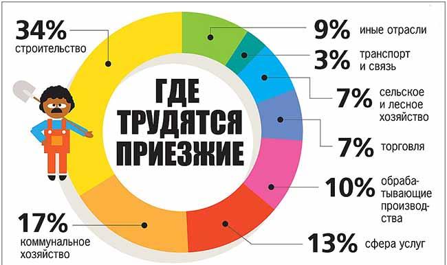 Диаграмма где трудятся приезжие в России