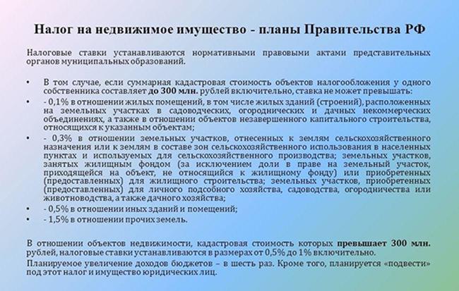 Планы РФ по вопросу налога на недвижимость