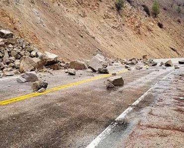 Обвал грунта вследствие землетрясения